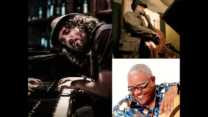 Alt text: The three musicians of the Tal Cohen Trio are pictured in separate photographs with their instruments. Clockwise from left: Tal Cohen, piano; Dion Kerr, bass; Ignacio Berroa, percussion